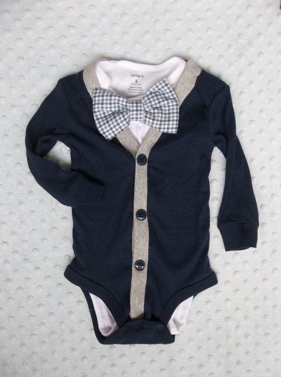 Baby Boy Cardigan Bowtie Onesie for a Preppy Baby Boy