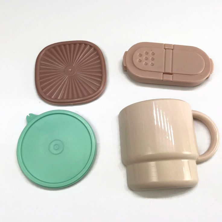 Vintage 4 Tupperware Mini Magnets Ivory Rose Cup Spice