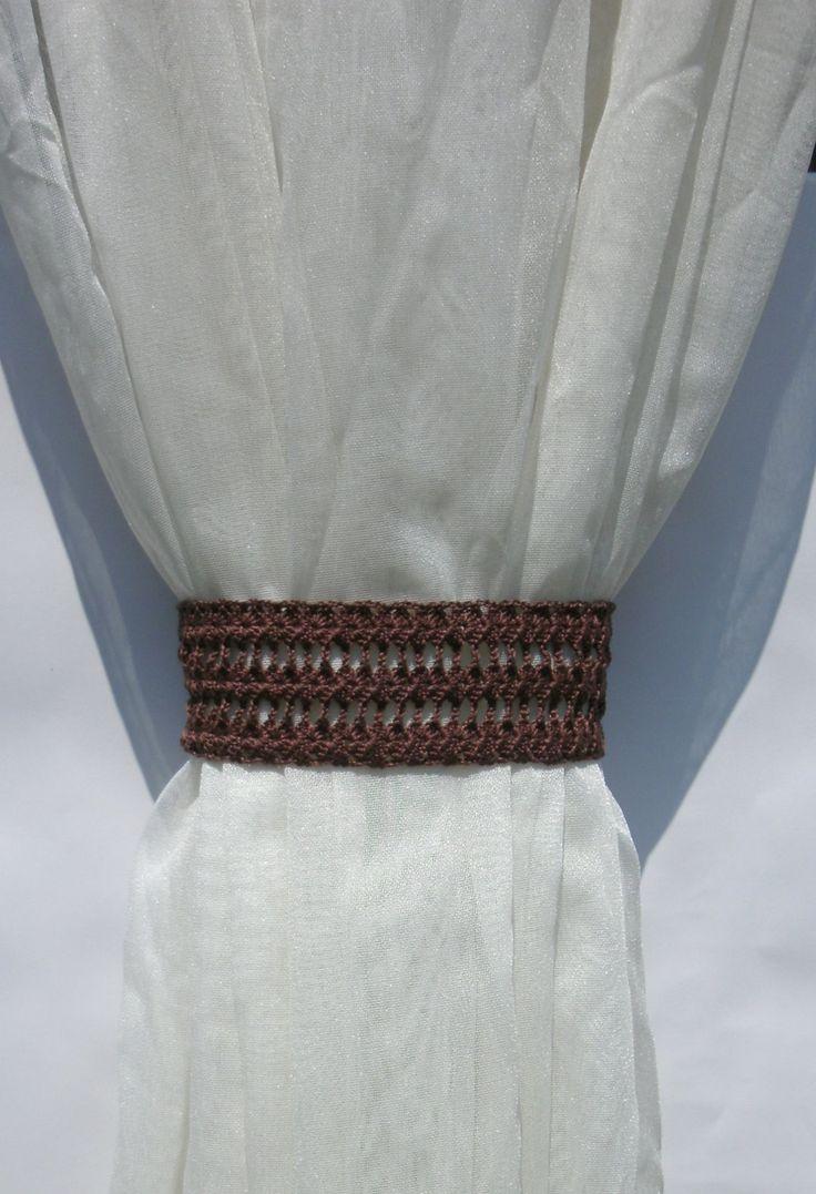 Curtain tie backs Crochet curtain tiebacks Brown curtain tie backs Window décor Drapes Curtain Holdbacks Drapery Tieback  Curtain Holders by CrochetedCosiness on Etsy