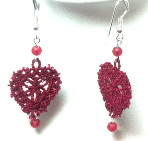 Red Battenberg Heart Earrings by teresadelosh on Etsy