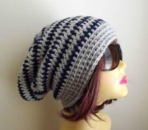 Crochet Slouchy Beanie | Handmade Hat Slouchy Beanie Crochet Slouch Hat Grey, Navy Beanie ...