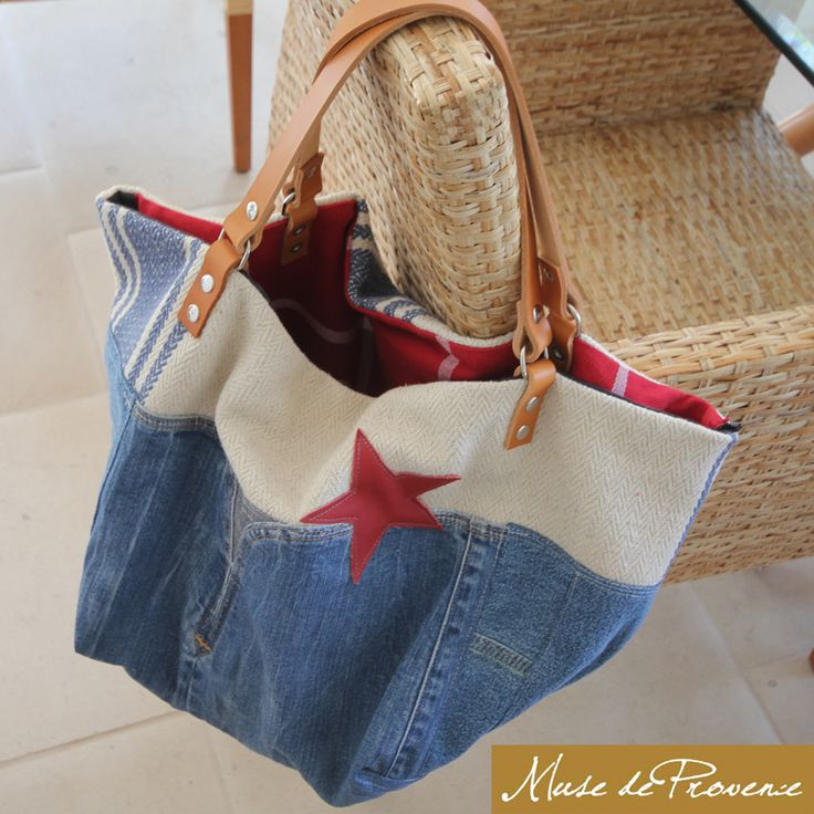 Cabas RETRO réversible en jeans recyclé - pièce unique et originale - handmade! www.musedeprovence.com