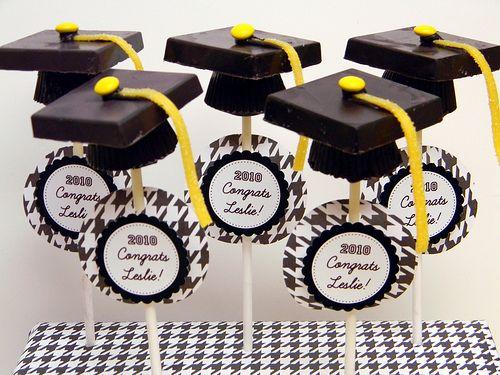Graduation Cake Pops – Godiva and Reeses Graduation Cap Pops [Click Photo for Recipe]    @Molly Fontejon