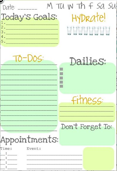 Great printable daily planner! -mom, how fun would it be to sit down every morning with your coffee and fill this out!!