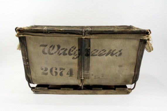 Vintage Canvas Laundry Bin / Industrial Canvas Bin by HuntandFound, $144.00