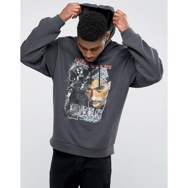 ASOS Oversized Hoodie With Tupac Print ($31) ❤ liked on Polyvore featuring men's fashion, men's clothing, men's hoodies, black, mens hoodies, mens sweatshirt hoodies, mens tall hoodies, mens cotton hoodies and mens patterned hoodies