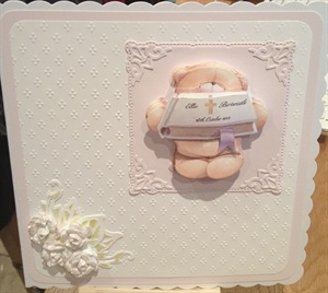 A commissioned christening card
