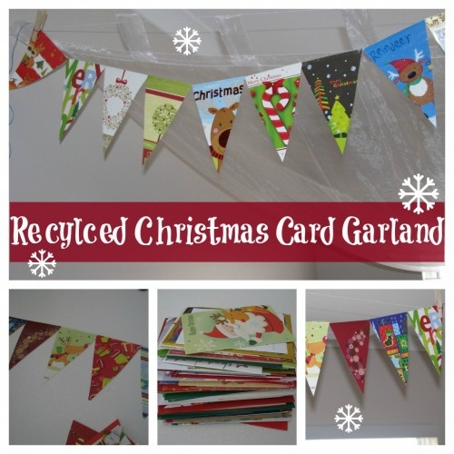 Recycled Christmas Card Garland 1