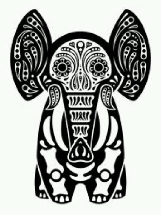 American Hippie Psychedelic Art Elephant Sugar Skull Coloring Page