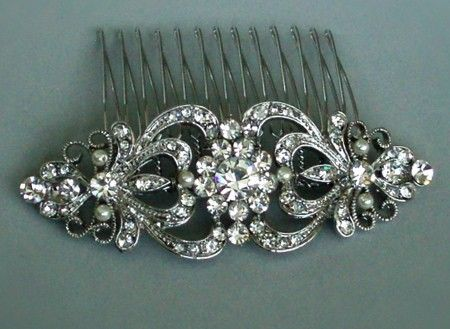 Vintage hair comb.  LOVE this!  Probably because it is as close to wearing a tiara as I will get!