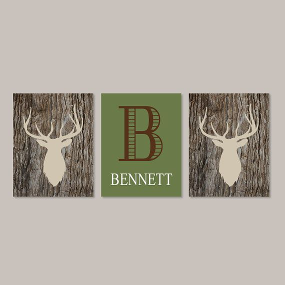 Baby Boy Nursery Decor Deer Antler Rustic Nursery Country Nursery Initial Set of 3 Prints Boy Playroom Boy Bathroom Camo Camouflage Bedroom