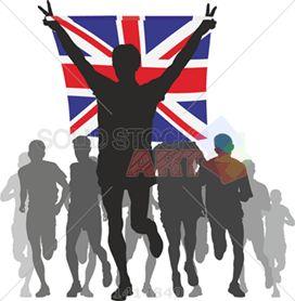 Vector grey runners silhouettes leader raising united kingdom flag on white vertical