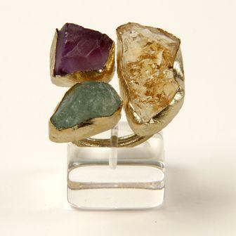 Silver 925 ° – Gilded – Amethystos Stones – Citrine – Aqua – Marine