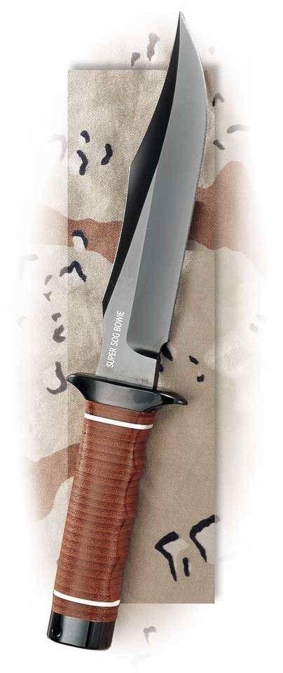 SOG Super SOG Bowie Fixed Blade Knife SB1T-L - Black TiNi 7.5 AUS-8 Blade, Leather Washer Handle #fixedblade @aegisgears