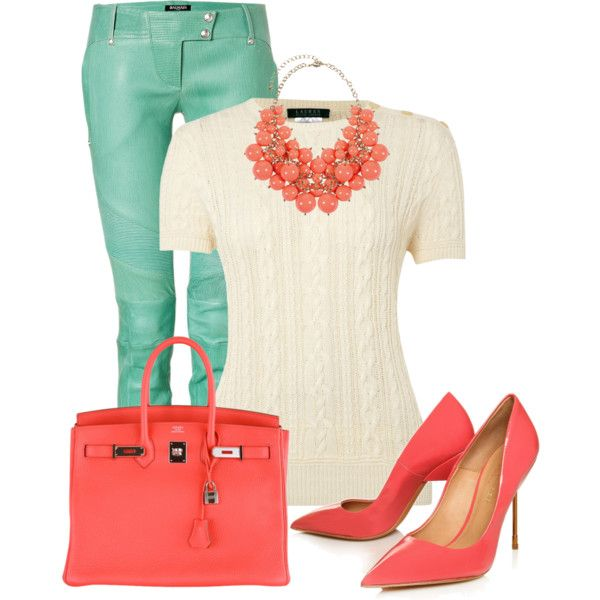 Coral mint by elenh2005 on Polyvore