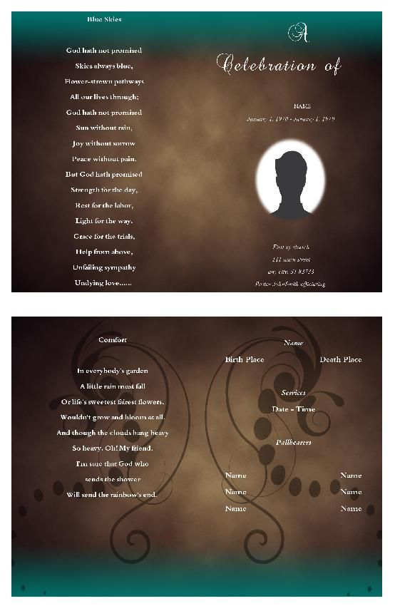 91 best Funeral Program Template images on Pinterest Christmas - free printable funeral program templates