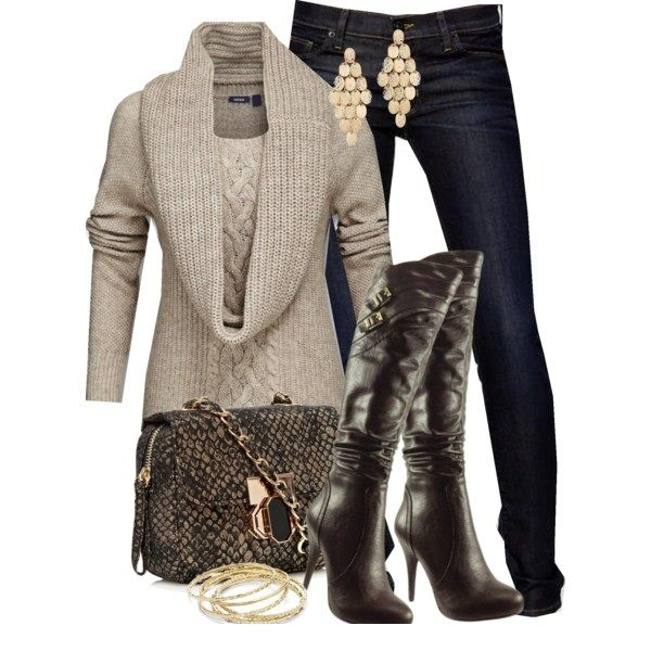 Fall OutfitBeige Sweaters, Winter Outfit, Fall Outfits, Fashionista Trends, Jeans Outfit, Fallfashion, Fall Fashion, Woman Style, Style Fashion