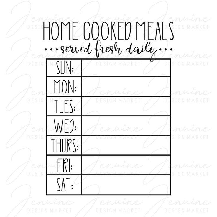 Weekly Menu SVG Meal Planning Digital Download Menu Board