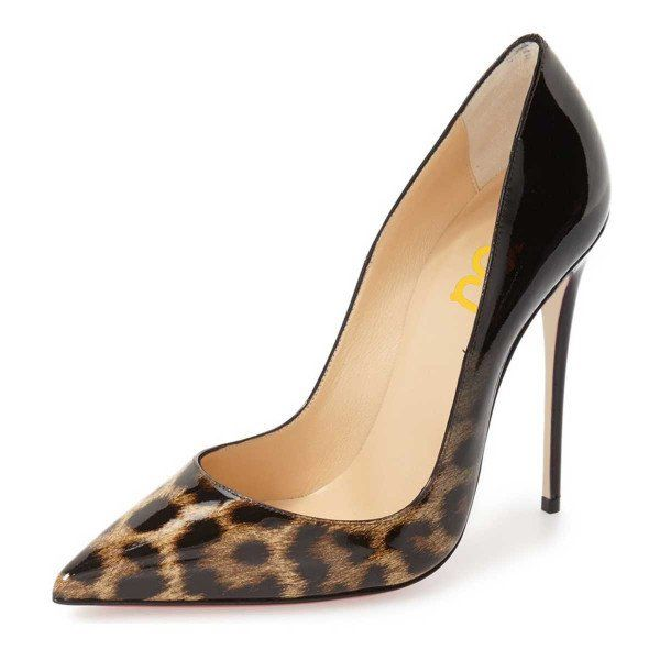 Leila Black Gradient Leopard-Print Pointed Toe Pencil Heel Pumps for Night club, Hanging out FSJ Design