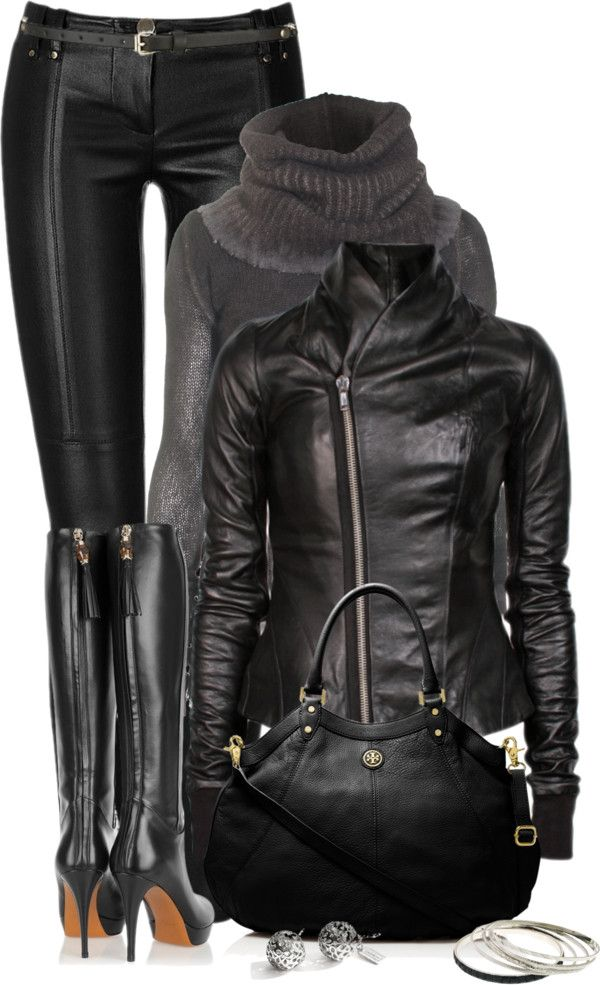 "Love all black! ""For the Love of Leather"" by johnna-cameron ♥✤"