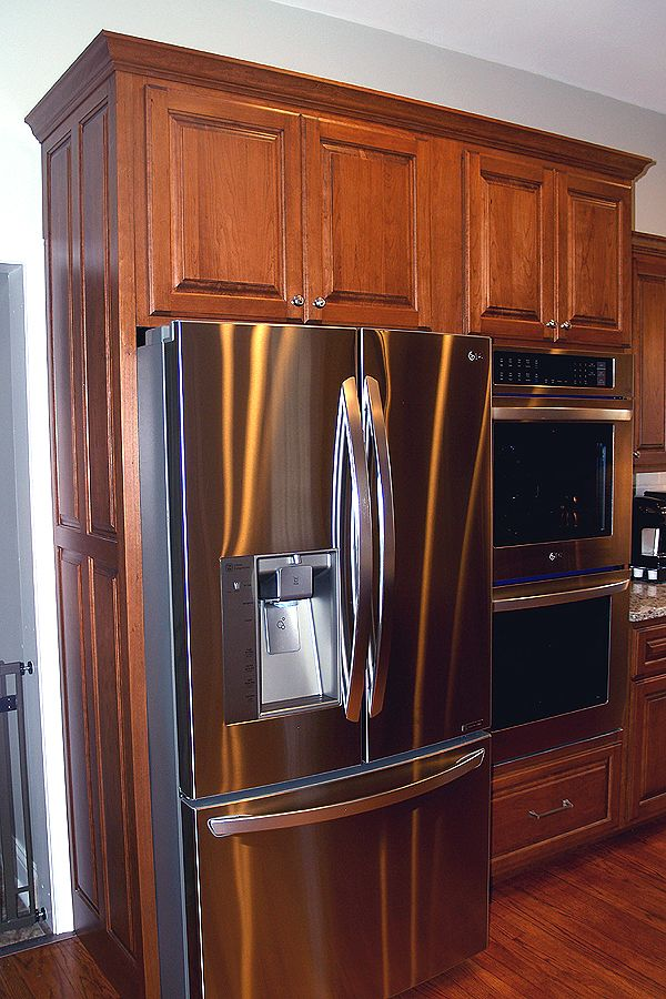 Marvelous Cherry Stained Raised Panel Refrigerator Enclosure And Best Image Libraries Thycampuscom