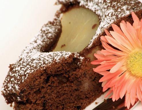 Schoko-Birnenkuchen mit Vanillecreme Rezept
