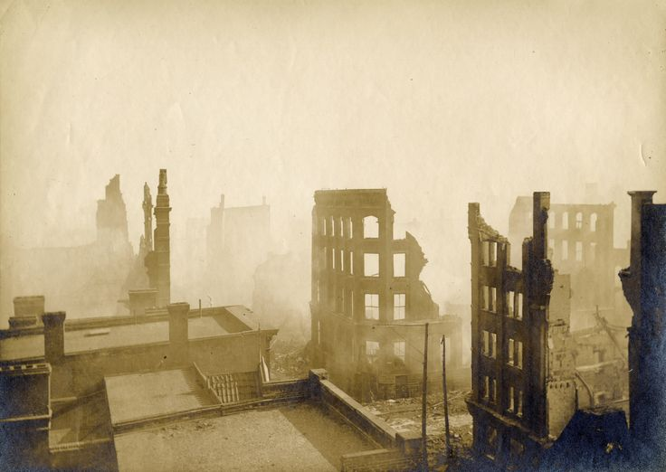 On April 19, 1904, fire ripped through downtown Toronto in what is now the Financial District. It started in a tie factory. Wooden exterior fire-escapes and window-sills meant it spread quickly. New-fangled elevators became chimneys. Because of the strong winds and cold, ice congealed on the telegraph wires, the streets and the firemen, who came from as far away as Buffalo and Hamilton. Fire equipment could not reach the roofs. By dawn, over a hundred buildings had been destroyed.