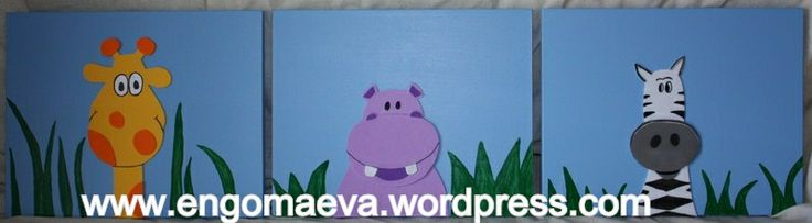 Precioso tríptico infantil: Animales Selva (Madera y Goma eva pintada a mano)   ---  Jungle Animals cute child triptych (Handmade painted wood and Paper eva) http://engomaeva.wordpress.com/