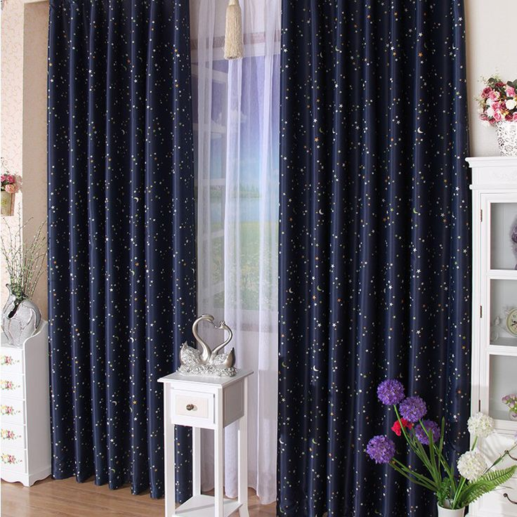 Dark Royal Blue Curtains For Kids With Polka Dots And Stars Moons (Two  Panels)