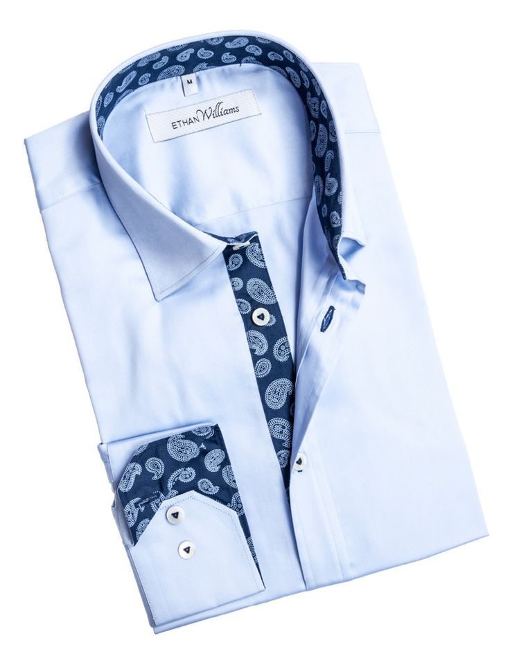 Ethan Williams Light blue dress shirt for men with Navy liner - Alysee