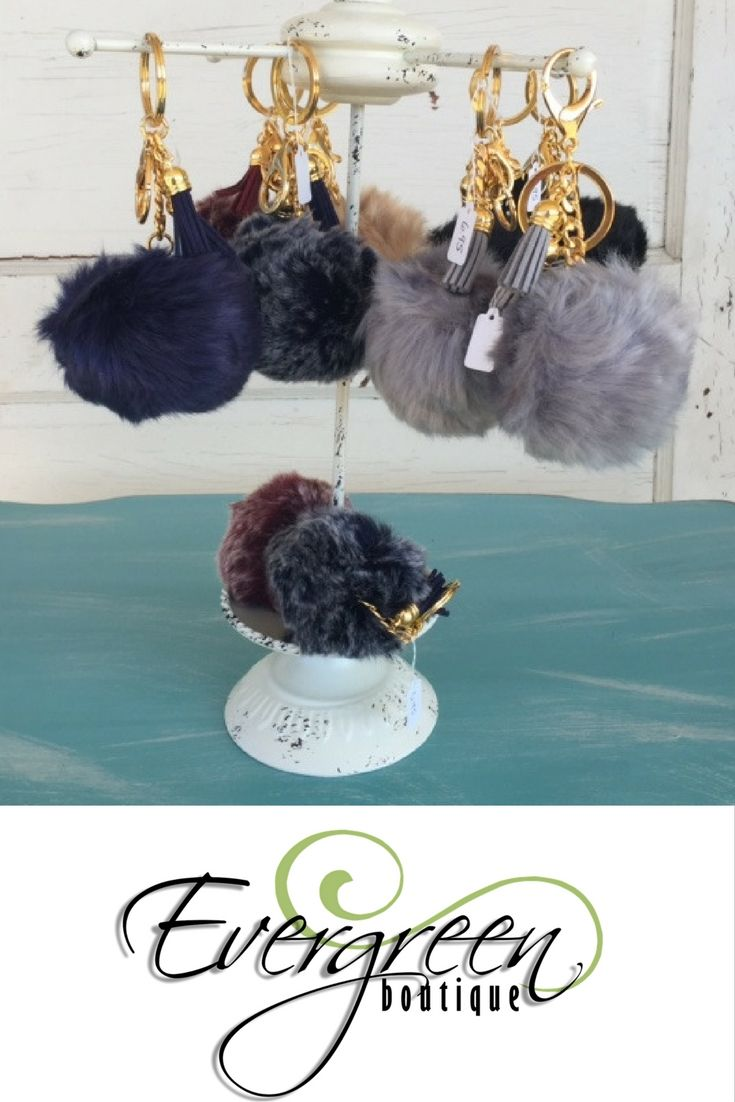 These puff keychains are gorgeous and elegant. Purchase from Evergreen Boutique in Santa Claus, Indiana.
