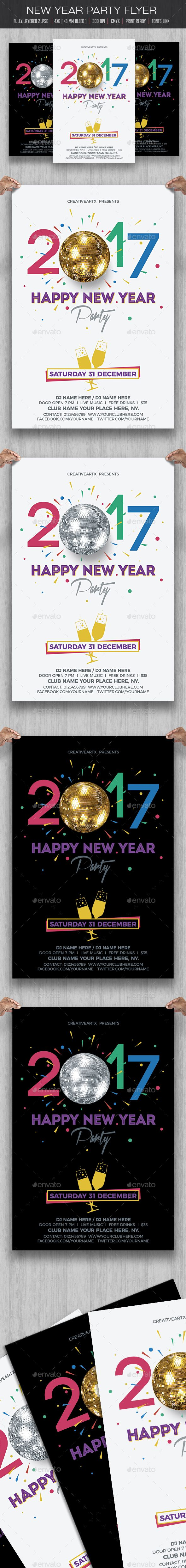 New Year Party Flyer. Download: https://graphicriver.net/item/new-year-party-flyer/18731445?ref=thanhdesign