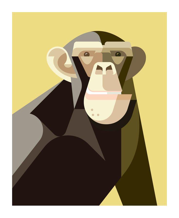 Common Chimpanzee Portrait by Josh Brill