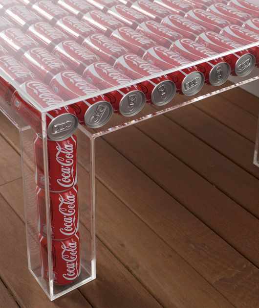Table made from Coca-Cola cans. What a waste of coke there not even empty
