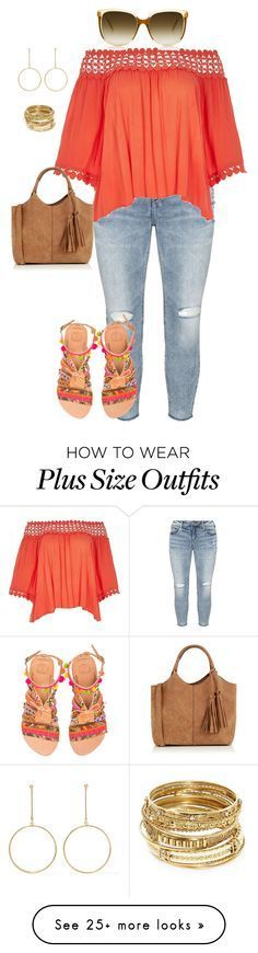 """""""plus size summer casual chic"""" by kristie-payne on Polyvore featuring Silver Jeans Co., River Island, Elina Linardaki, Oasis, Kenneth Jay Lane and ABS by Allen Schwartz"""