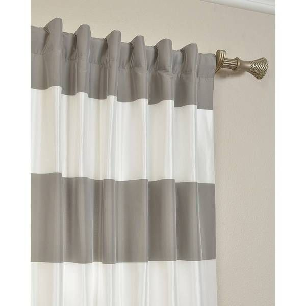 EFF Pewter and Ice Cabana Stripe Faux Silk Taffeta Curtain Panel ...