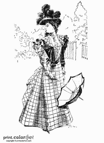 victorian coloring pages of womens dress victorian dress print color fun