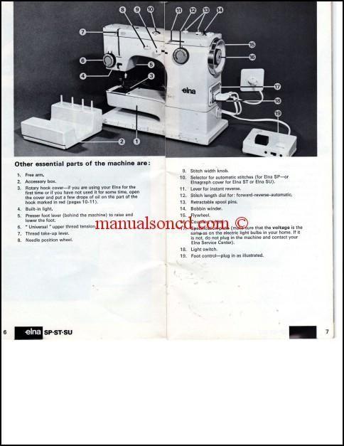 Elna SP ST SU Sewing Machine Instruction Manual Sewing Machine Enchanting Elna Sewing Machine Parts