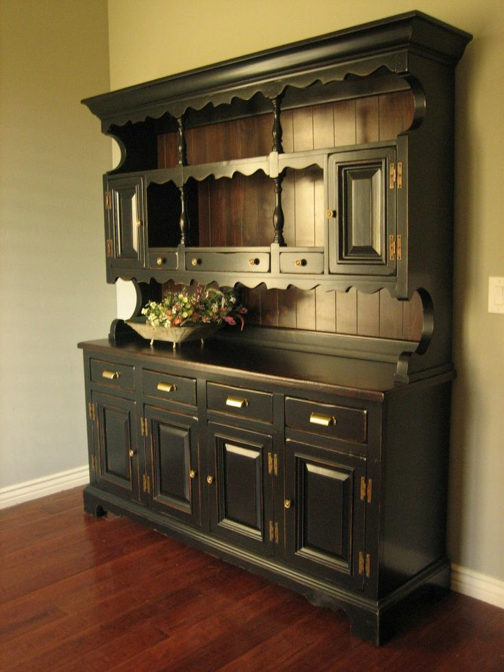 Rustic Black Farmhouse Hutch Home Decor Pinterest