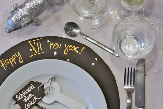 Silvesterdeko, Schlüssel zum Glück, Fimo (air- Microwave), Glücksschweinchen, 12 Trauben, happy new year,...