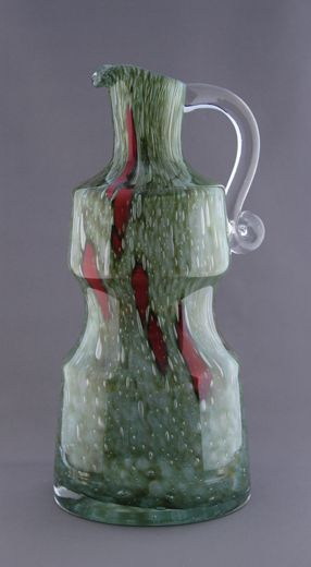 Vase - pitcher from range Flora, 1970s, glassworks Prachen - Borske sklo, 30,0 cm