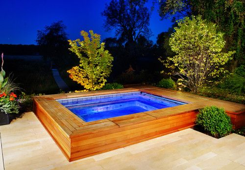 Statue of Some Stylish Modern Built in Hot Tub Design that Will Make Your Day Even Relaxing