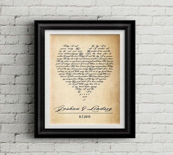 Wedding song art Wedding song lyrics Wedding by MyPrintableArts Paper Anniversary