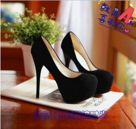 Shoes Pumps Plus Size Western Style Pure Color Rounded Toe High Stiletto Heel Pumps Black