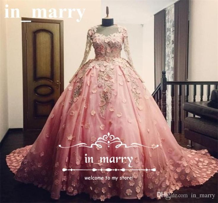 Princess Pink 3D Floral Ball Gown Wedding Dresses 2017 Long Sleeves Vintage Lace Beaded Muslim Arabic Vestido De Novia Victorian Bridal Gown 2017 Wedding Dresses Princess Wedding Dresses Arabic Wedding Dresses Online with $278.86/Piece on In_marry's Store | DHgate.com
