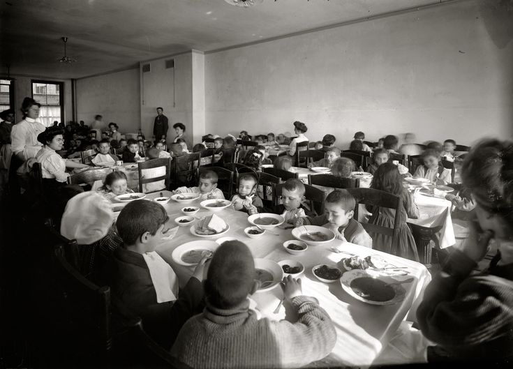"""New York City circa """"Luncheon -- Cripple School, Henry Street."""" Dining room at the East Side Free School for Crippled Children"""