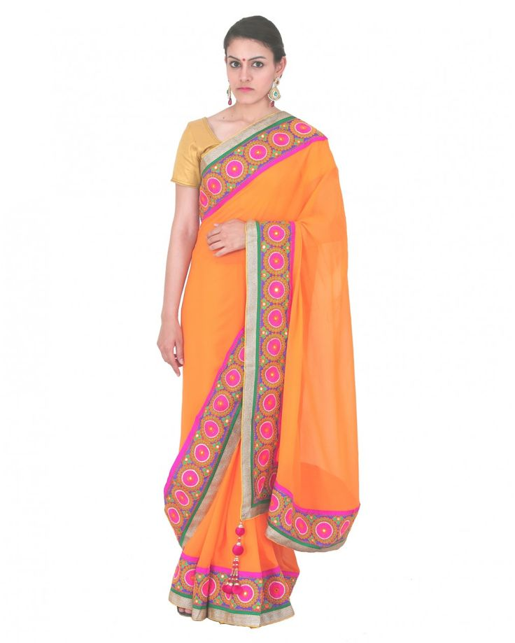 This fine fabric stone work saree measuring about 5.5m in length and comes with an unstitched blouse piece about 80cm in length, blouse is not the one model is we