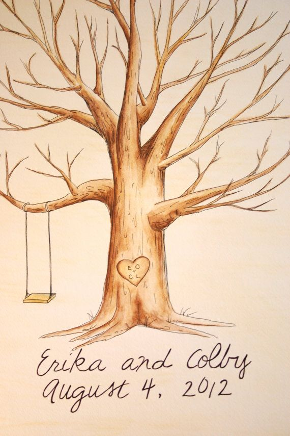Wedding Guest Book Tree. Original thumb print Water Color Illustration- Custumize. $60.00, via Etsy.