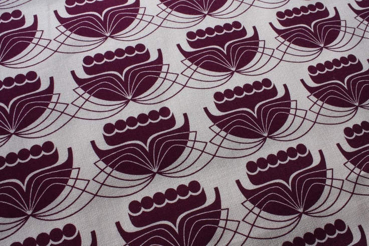 Lily Design - Plum or Blue - hand screen printed fabric: 'delicate beauty'