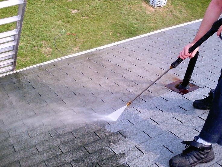 Clean Roof Mold, Algae, Moss & Lichen:  NEVER use a power washer--This will shorten your shingle lifespan!! Short term fix: (Spray plants with water first to protect from bleach mix) Mix 1part bleach to 3parts water, & add 1/4part TSP to clean. Spray on. Let sit for 15mins and then rinse with a hose. If mildew remains, allow roof to dry & repeat. Long term fix: Copper, Silver, Zinc, or Magnesium Strips